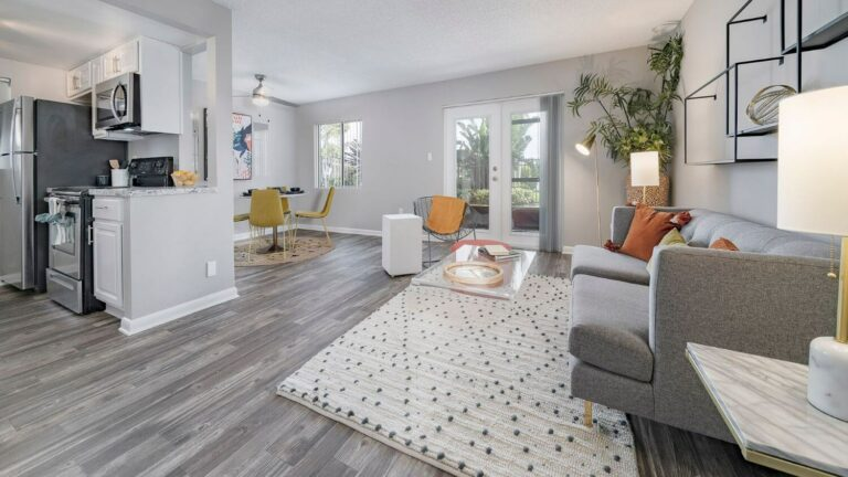 Grey wood style flooring